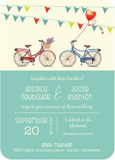 Bicycle Paper Designs | Bicycle Wedding Invitations | Bicycle Invites