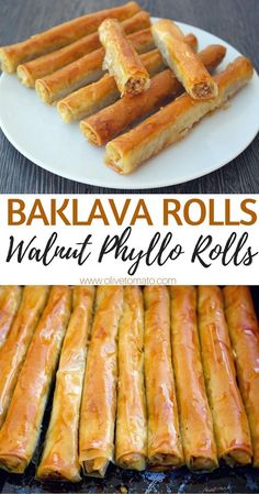 From- Baklava Rolls Walnut phyllo rolls. If you love baklava, you can make this easy, vegan, healthier version at home. Walnuts wrapped in phyllo and drizzled with syrup is a perfect dessert any time of the day. Greek Desserts, Greek Recipes, Puff Pastry Desserts, Greek Sweets, Slovak Recipes, Arabic Recipes, Summer Desserts, Kolaci I Torte, Yummy Food