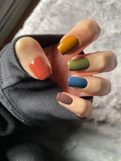 Cute Acrylic Nails, Cute Nails, Pretty Nails, Basic Nails, Simple Nails, Multicolored Nails, Nagellack Design, Funky Nails, Minimalist Nails