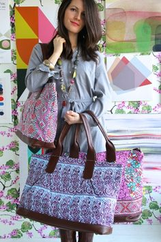 Amy Butler's Abina Totes & Marni Duffle, part of the Hapi Sunrise collection from Kalencom.