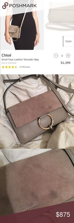 Chloé Small Faye Leather/Suede Bag Chloé Motty Gray Small Faye Bag. In very good condition, flaws are pictured. Inside is near perfect as is leather. Have been told by suede cleaner it can be easily cleaned for a small price. I'd rather sell it for a good deal than go through with that as I don't want to keep it. 100% authentic, will be authenticated through Posh. Chloe Bags Crossbody Bags