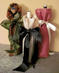 How to Make Fabric Gift Bags:Holiday Gift Idea for Wine, Cider, Oils... want to do this with SU fabric!
