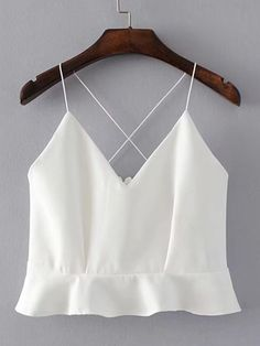 Shop Criss Cross Back Ruffle Hem Cami Top online. SheIn offers Criss Cross Back Ruffle Hem Cami Top & more to fit your fashionable needs. Girls Fashion Clothes, Teen Fashion Outfits, Girl Fashion, Girl Outfits, Fashion Looks, Ladies Fashion, Crop Top Outfits, Cute Casual Outfits, Stylish Outfits
