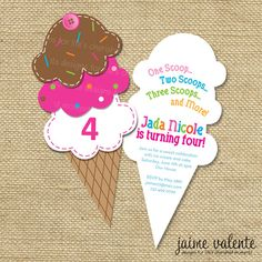 made them on my own with printable cutouts, turned out super cute!!! Ice Cream Cone Birthday Invitation by jaimevalente on Etsy, $15.00