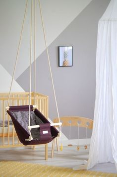Byel dark brown baby swing hammock indoor swing fabric wood | Etsy