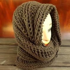 JOAN, The Crochet Pattern Infinity Scarf, Crochet Hooded Cowl | Just the Pattern.