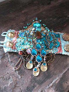 Mystery Bracelet Gypsy Jangle Blue Gold Aqua by AllThingsPretty