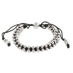 """Stainless Steel Beads on Black Cotton Cord Bracelet, 8"""" Extender Amazon Curated Collection. $29.00. Made in China"""
