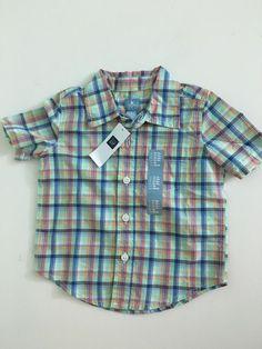 NWT babyGap Boy's Short Sleeve Button Front Shirt size 12-18M %100 Cotton #babyGap