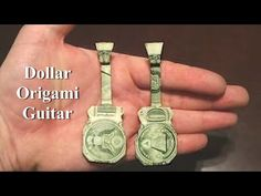 This nifty tutorial from JustOrigami shows how to make a dollar origami guitar, a fun way to present a cash gift to someone, especially if they enjoy or play music. Money Origami Tutorial, Origami Instructions Easy, Origami Easy Step By Step, Origami Gifts, Paper Crafts Origami, Origami Boxes, Oragami, Origami Guitar, Easy Dollar Bill Origami