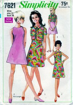 Simplicity Vintage Sewing Pattern 7621 ©1968 Misses' Mini Dress and Jacket Sz 12