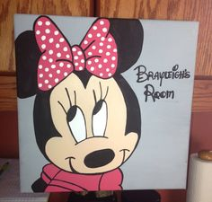 Minnie Mouse room on Etsy, $20.00 Disney Canvas Paintings, Disney Canvas Art, Mini Canvas Art, Diy Canvas, Acrylic Painting Canvas, Disney Art, Acrylic Painting For Beginners, Rock Painting Ideas Easy, Painting For Kids