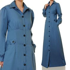 Blue Cotton Buttoned Shirtdress Long Sleeved by Tailored2Modesty