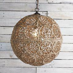 Macrame Jute Sphere Pendant - Medium