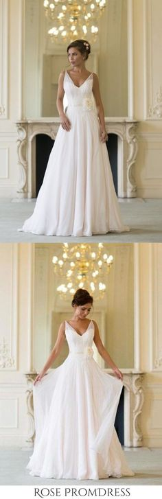 Floor Length V Neck Sleeveless Chiffon Beach Wedding Dress With SRSP3HX82S3, This dress could be custom made, there are no extra cost to do custom size and color