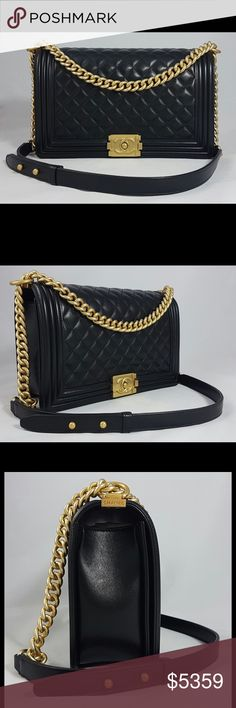 CHANEL Boy in black quilted lambskin CHANEL Boy in black quilted lambskin leather, new medium size. Chain and clasp in gold tone metal. This bag was recently purchased in boutique, card #23. The bag was never used, Interior and exterior are in immaculate condition. Includes its dustbag, its authenticity card, its original box, the booklet, ribbon and camelia. CHANEL Bags Crossbody Bags