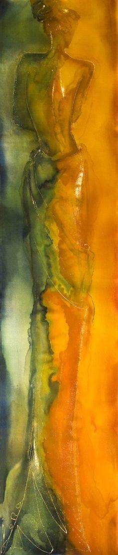 'Eva' printed silk satin scarf by Lengyel Leona,