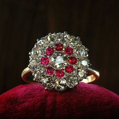 1900s Ruby and European Cut Diamond Cluster Ring
