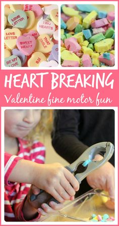 Fun Valentine's Day fine motor activity for the kids! Hand-strengthening, literacy, math, and science all rolled up in a heart-breakingly awesome activity!