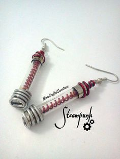 Red Coil Steampunk Earrings by HomeCraftedSweetness on Etsy, $45.00