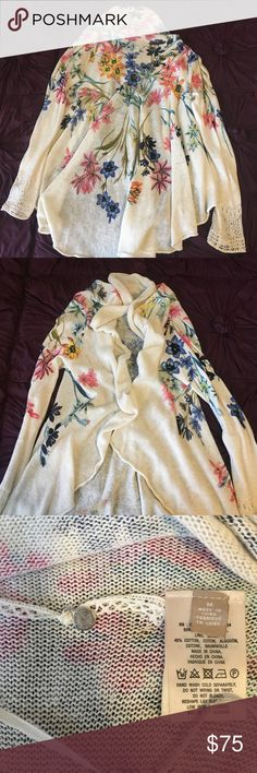Anthropologie Knitted and Knotted Fleur Des Champs NWOT and NEVER BEEN WORN! GORG print on this cardigan! Pics do NOT do this beauty justice!! Not sure if I want to get rid of but will for the right price 🌟Don't like the price?🌟 🤑👉🏼MAKE ME A OFFER!👈🏼🤑 Anthropologie Sweaters Cardigans