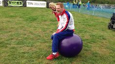 Triple Paralympic Champion Stephen Miller was the celebrity who was asked to start the Cobalt Duathlon. He was had a bounce on one of the event sponsor Winn Solicitor's colour matched Purple Retro Space Hopper.