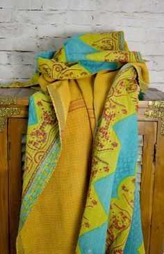 Vintage Kantha Sari Quilt in Bright Yellow and Sky Blue