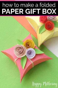 Handmade gifts are even better when they come in homemade packaging. Learn how to make a simple folded paper gift box with flowers in this easy step-by-step tutorial. It's a fun DIY idea for Mother's Day, birthdays, showers or any special occasion. #gifts #giftideas #giftbox #diygiftbox #foldedgiftbox #origami #diy #howto #homeamdegifts #homemade #crafts #papercrafts #craftideas #packaging #giftpackaging #makeityourself #paperflowers #flowercrafts Homemade Gift Boxes, Diy Gift Box, Diy Gifts For Mom, Diy Mothers Day Gifts, Paper Gift Box, Paper Gifts, Paper Boxes, Fun Crafts For Kids, Craft Activities For Kids