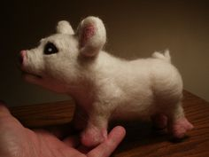 Artist Needle Felted Little Pig Sculpture - OOaK Polly on Etsy, $95.00