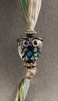 Hand Made Glass Lampwork Bead Owl Pendant Set от PeggySudzLampwork,