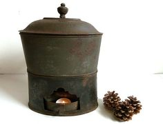 Antique French lunch box . 1800s . Cottage Chic  .Fall . Autumn . Eveteam. Rustic .Primitive $65