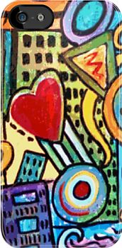 Pretty City painting on iphone case by gretzky