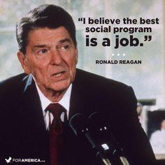 The Best Social Program Is A Job Reagan Quote Conservative Men/'s V-Neck T-Shirt
