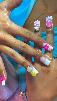 Short Square Acrylic Nails, Long Acrylic Nails, Spine Tattoos For Women, Hello Kitty Nails, Fire Nails, Nail Designs, Nail Inspo, Claws, Nail Ideas