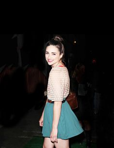 Crystal Reed | skater skirt, waist belt