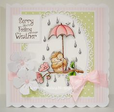 Good Evening Everyone, I have a card to share today using one of the new stamps from Lili of the Valley . This is 'Under the Weather'. 3d Cards, Cute Cards, Scrapbooking, Scrapbook Cards, Chloes Creative Cards, Handmade Card Making, Beautiful Handmade Cards, Get Well Cards, Mothers Day Cards