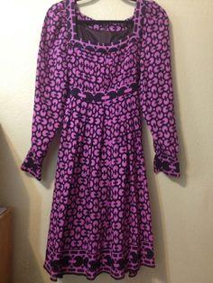 ANNA SUI Pleated Pink Purple Circle Print Dress Made in USA Size 6 #AnnaSui #EmpireWaist #Event