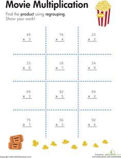 Worksheets: 2-Digit by 1-Digit Multiplication