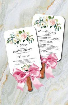 Floral Wedding Program Fan Printable Program Fan Template