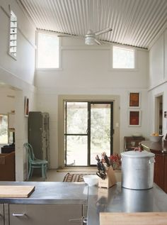 high windows instead of skylight and painted tin ceiling