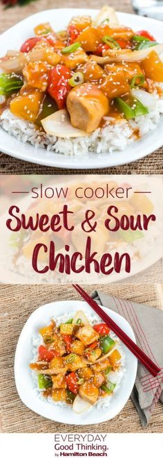 Easy Slow Cooker Sweet and Sour Chicken - Slow Cooking Slow Cooking, Slow Cooked Meals, Crock Pot Slow Cooker, Crockpot Recipes, Chicken Recipes, Cooking Recipes, Chinese Slow Cooker Recipes, Slow Cooker Summer Recipes, Clean Eating Snacks