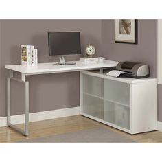 Corner Computer Desk In White