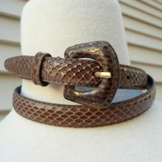 Brown Snake Skin Skinny Belt Vintage 1970s 1980s by machelle for $12.00