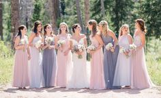 Celestial wedding with dresses from @bellabridesmaid in dusty pink, grey and dove. photographer: aliandgarrett | event planner: @kkweddings