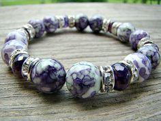 Gemstone Stretch Bracelet, Purple Green Ocean Jade by BeJeweledByCandi, $36.00