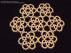 Frivolité Tapete de 7 flores Tatting Patterns Free, Beading Patterns, Needle Tatting, Sewing Basics, Doilies, Snowflakes, Free Pattern, Diy And Crafts, Embroidery