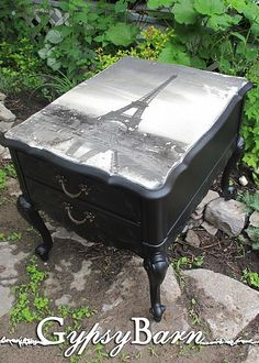 This is what I need to go with my Paris items, end table! would be so easy to do with a poster and Mod Podge!