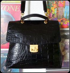 DISSER-Leder-hochwertige-Tasche-Schultertasche-City-Bag-Handtasche-XL-Buero-Kroko
