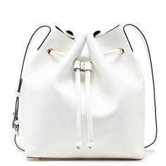 Sole Society Nevin Drawstring Bucket ($65) ❤ liked on Polyvore featuring bags, handbags, shoulder bags, white, white handbags, faux leather bucket bag, vegan handbags, drawstring handbags and bucket bag purse