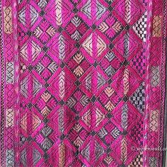 E232 Swat Valley Scarf with Embroidery and Rare Beaded Tassels